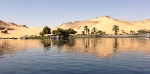 Desert in Aswan seen from the Nile
