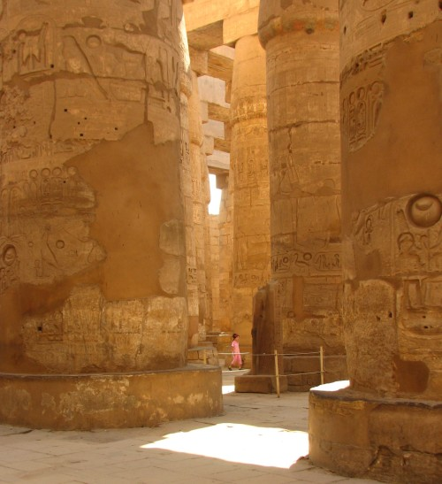 Columns in the Great Hypo Hall in the Karnak Temple